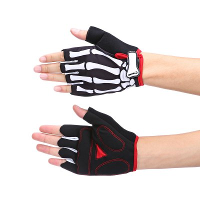 MOKE Pair of Skull Finger Pattern Half-finger Cycling Gloves