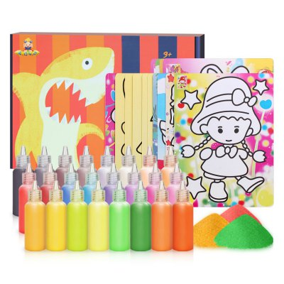 24 Colors Sand Drawing Set Kids DIY Puzzle Handmade Early Education Art Toy