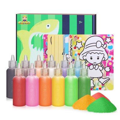 12 Colors Sand Drawing Set Kids DIY Puzzle Handmade Early Education Art Toy