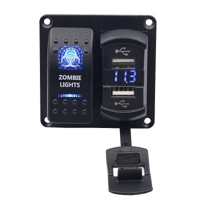 Rocker Switch Zombie Light ON-OFF Switch for 12V-24V Boat Vehicle Mobile Phone with Dual 4.2A USB Charger LED Voltmeter