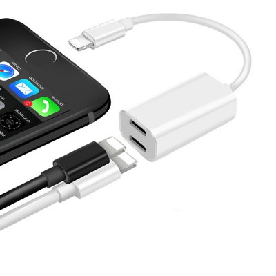 Dual Lightning Splitter Adapter 2 in 1 Headphone Audio and Charge Adapter for iphone 7 8 iphone X