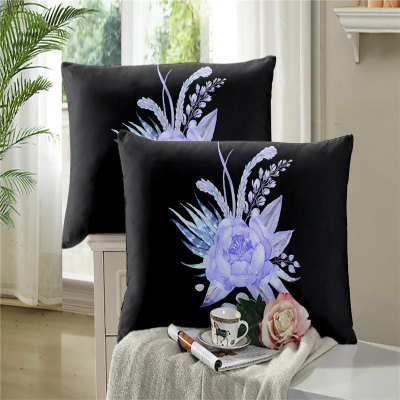 3D Painted Green Petals Pillow Case Sofa Cushion Cover Lotus Pattern SK01