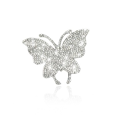 Car Sticker Crystal Rhinestone Truck SUV Home Office Window Decal Sticker Decoration Silver Butterfly 2.4 By 2.8inch