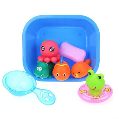 Lovely Rubber Animals Baby Bath Toys Floating Squeeze Make Sound 1 Set