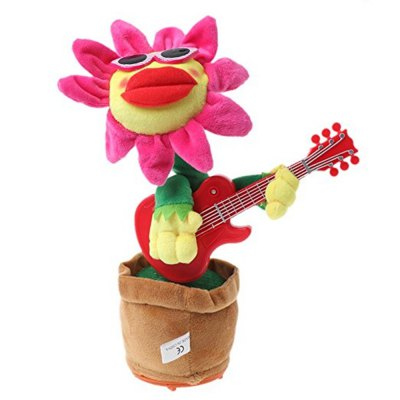 Plush Doll Funny Singing and Dancing Enchanting Sunflower Music Toys with Guitar Potted for Kids Gift