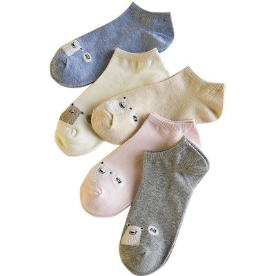 Spring and Summer New products gadgets Womens Cotton All-match Thin Socks Five Pairs of Socks with Different Color