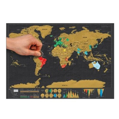 High Quality Large Size Personalized Scratch-off World Map Poster Travel Toy