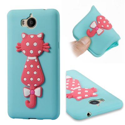 Case For Huawei Y6 2017 Soft 3D Flower Cat Phone Case