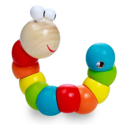 Wooden Color Variant Twisted Worm Animal Doll Caterpillar Children Educational Toys