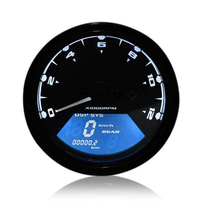 QMP-431 Universal Motorcycle Digital Speedometer LCD Backlight Odometer Tachometer Gauge Alarm Function