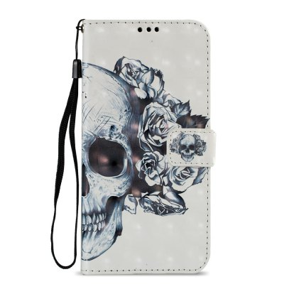 3D PU Leather Wallet Stand Case for Xiaomi Redmi 5 Plus Skeleton Pattern