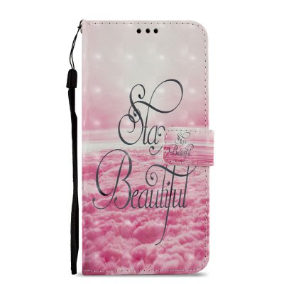 3D PU Leather Wallet Stand Case for Xiaomi Redmi 5 Plus Pink Cloud Pattern