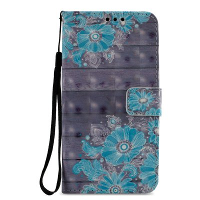 3D PU Leather Wallet Stand Case for Xiaomi Redmi 5 Blue Flower Pattern