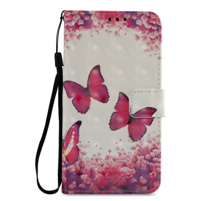 3D PU Leather Wallet Stand Case for Xiaomi Redmi 5 Red Butterfly Pattern