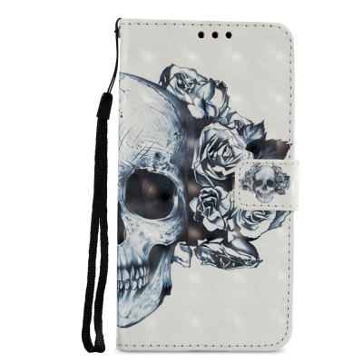 3D PU Leather Wallet Stand Case for Xiaomi Redmi 5 Skeleton Pattern