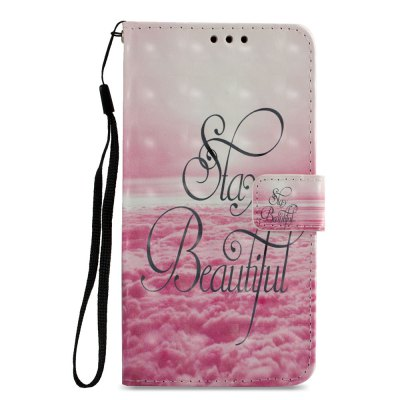 3D PU Leather Wallet Stand Case for Xiaomi Redmi 5 Pink Cloud Pattern