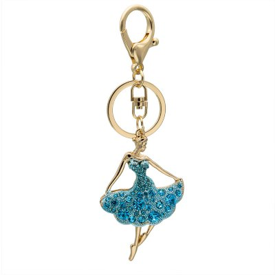 Creative Ballet Woman Shape Decoration Rhinestone Key Chain