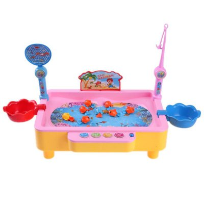 Electric Rotation Magnetic Fishing Toy with Music Songs Sound Kids Educational Game Board