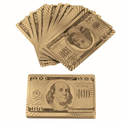 Dollar Style Gold Foil Poker Playing Cards