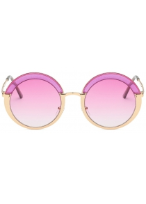 Europe and The United States Ladies Trend Multi-Color Round Frame Sunglasses