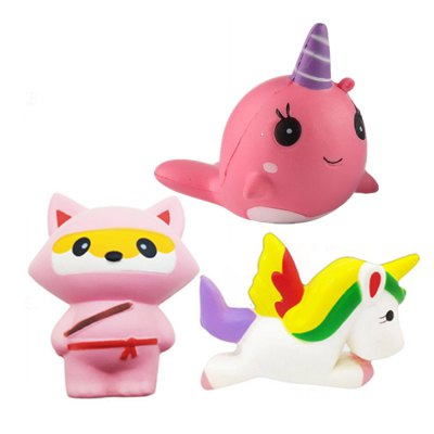 Jumbo Squishy Unicorn Whale and Fox Slow Rising Kawaii Cute Cartoon Toys 3PCS