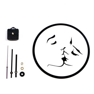 Nordic Style Simple Diy Creative Kiss Black and White Acrylic Silent Fashion Clock