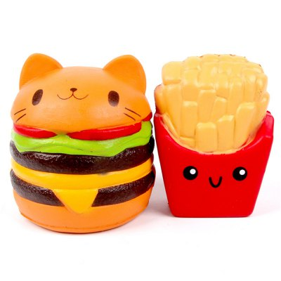 Jumbo Squishy Slow Rising Kawaii Cat Hamburger Bread and French Fries Toy 2PCS