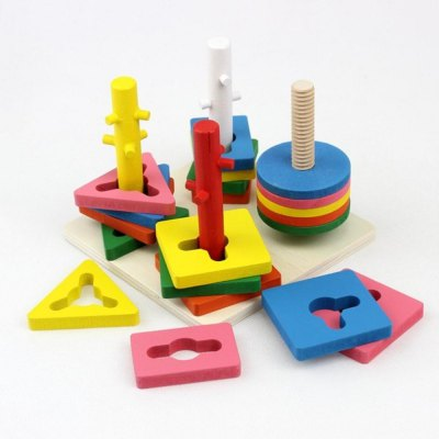 Four Column Intelligence Sleeve Children Intelligence Wooden Pairs Cognitive Block Toys