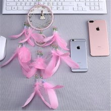 Creative Dream Catcher Two Ring Pink Feather Household Decorative Pendant