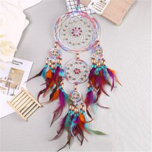 Dreamcatcher'S Five-Ring Feathered Wind Chimes Decorated