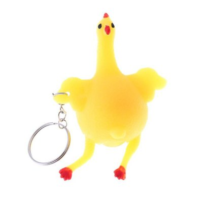 Cute Toys Vent Chicken Whole Egg Laying Hens Crowded Stress Ball Keychain