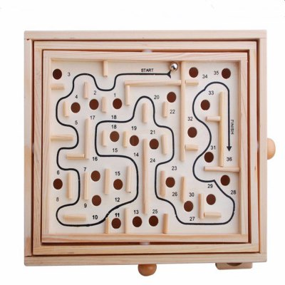 Wooden Maze 36 Customs Puzzle Toy Ball stat Desktop Game