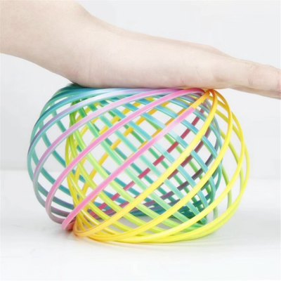 Novelty Plastic Rainbow Flow Ring Kinetic Spring Toy