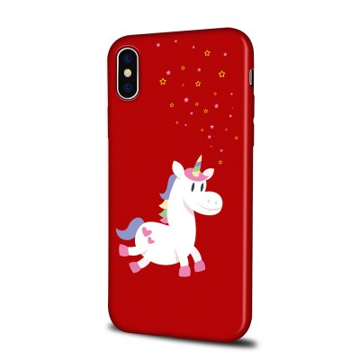 Soft Texture TPU Phone Case for iPhone X Back Cover Running Unicorn