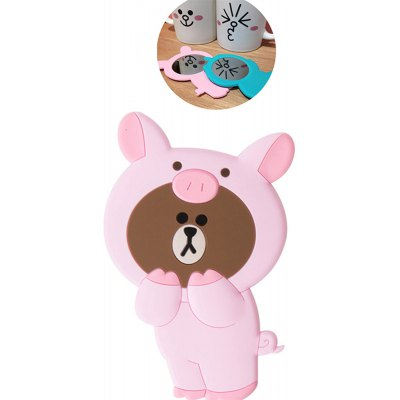 3D Cartoon Silicone Dinosaur Bear Pig Portable Travel Cosmetic Makeup Mirror