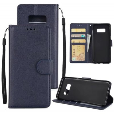 Solid Color Hard PU Leather Wallet Case with Sling for Samsung Galaxy S8 Plus