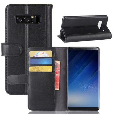 Solid Color Real Cow Leather Wallet Style Front Buckle Flip Case with Card Slots for Samsung Galaxy Note 8