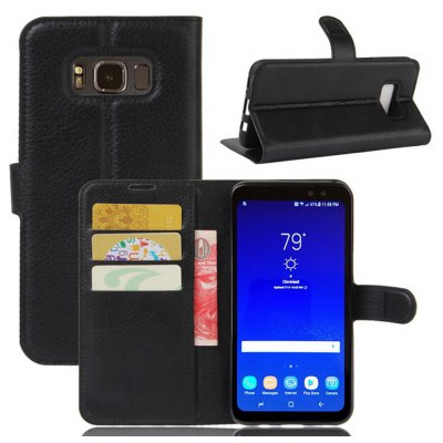 Solid Color Litchi Pattern Wallet Style Front Buckle Flip PU Leather Case with Card Slots for Samsung Galaxy S8 Active