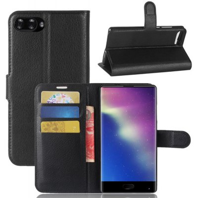 Solid Color Litchi Pattern Wallet Style Front Buckle Flip PU Leather Case with Card Slots for Doogee Mix