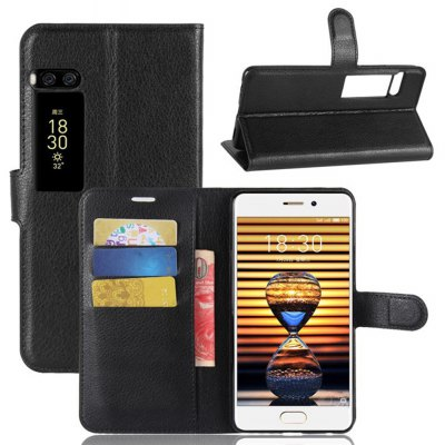 Solid Color Litchi Pattern Wallet Style Front Buckle Flip PU Leather Case with Card Slots for Meizu Pro 7
