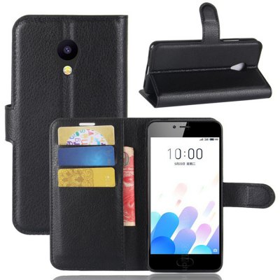 Solid Color Litchi Pattern Wallet Style Front Buckle Flip PU Leather Case with Card Slots for Meizu A5