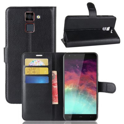 Solid Color Litchi Pattern Wallet Style Front Buckle Flip PU Leather Case with Card Slots for Homtom HT30