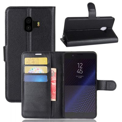 Solid Color Litchi Pattern Wallet Style Front Buckle Flip PU Leather Case with Card Slots for Samsung Galaxy C10