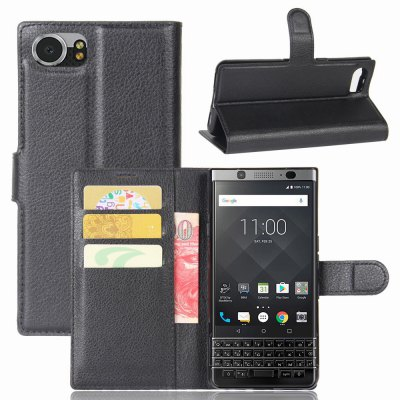 Solid Color Litchi Pattern Wallet Style Front Buckle Flip PU Leather Case with Card Slots for Blackberry Mercury DTEK70