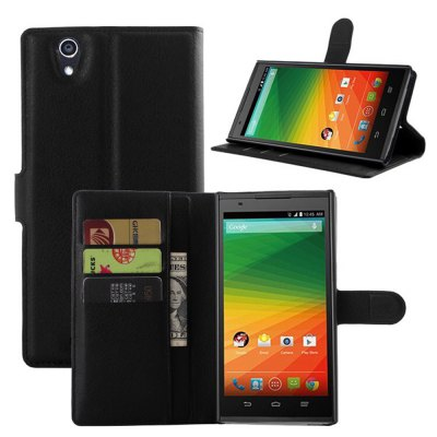 Solid Color Litchi Pattern Wallet Style Front Buckle Flip PU Leather Case with Card Slots for ZTE Grand Z Max Z970