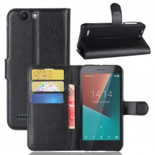 Solid Color Litchi Pattern Wallet Style Front Buckle Flip PU Leather Case with Card Slots for Vodafone Smart E8
