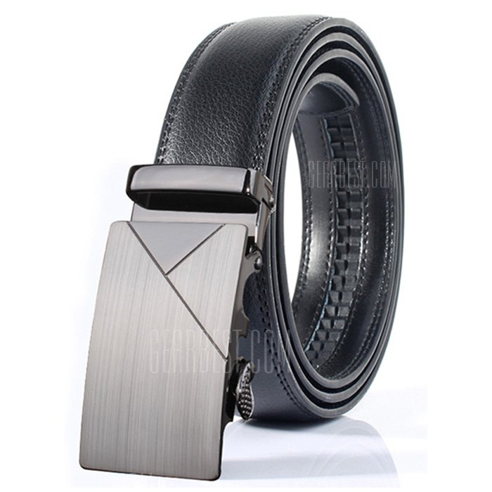ZHAXIN Men Simple Business Geometric Leather Belt with Buckle