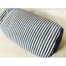LANGRIA 2-in-1 Microbead Travel Pillow, Gray and White Stripes
