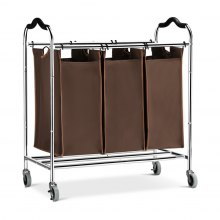 (LAUNDRY SORTER) LANGRIA Heavy Duty Laundry Hamper Stand Rolling Laundry Sorter Cart with 3 Durable Detachable Bags, 4 Casters and Anti-Slip Handles (Capacity 75 lbs., Chrome, Brown Bag)