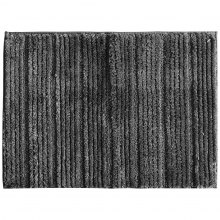 LANGRIA Anti-Slip Striped Microfiber Bath Mat, Dark Grey